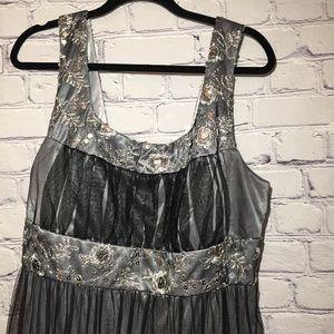 R&M Richards Women Black/silver lacy dress 16W